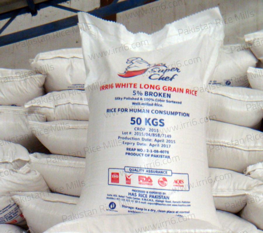 Shipment for Pakistan Long Grain IRRI-6 White Rice, 5% Broken Rice Exporters.